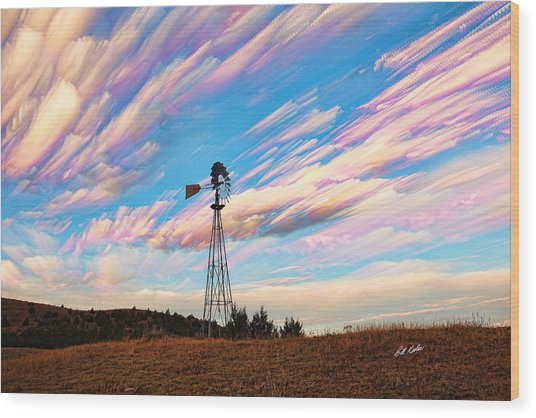Crazy Wild Windmill Wood Print
