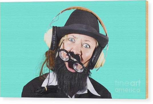 Crazy Woman With Headphones Wood Print