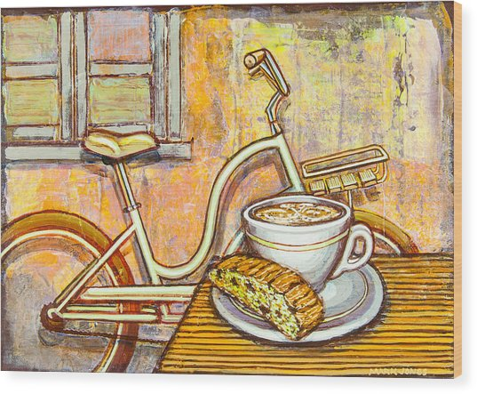 Cream Electra Town Bicycle With Cappuccino And Biscotti Wood Print