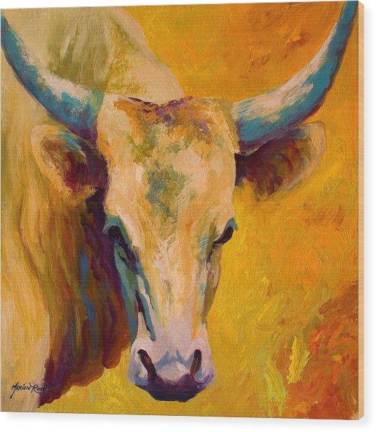 Creamy Texan - Longhorn Wood Print