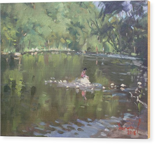 Credit River By Norval On Wood Print