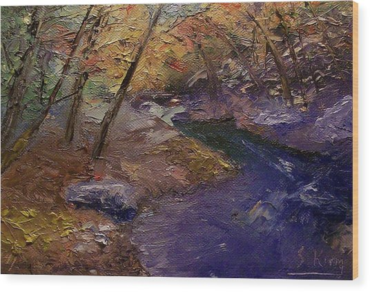 Creek Bank Wood Print