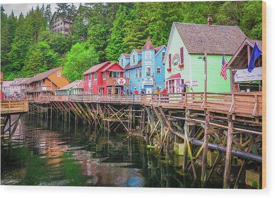 Creek Street Ketchikan Alaska Wood Print