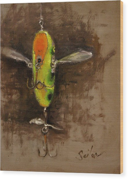 Creeper Muskie Lure Wood Print by Larry Seiler