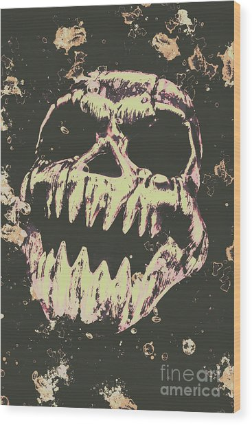 Creepy Face From Nightmares Past Wood Print