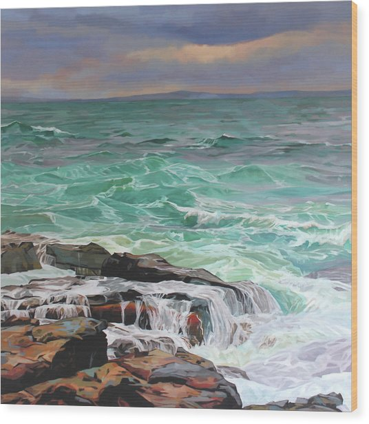 Creevy Storm 3, Waves Spill Over The Rocks Wood Print by Kevin Lowery