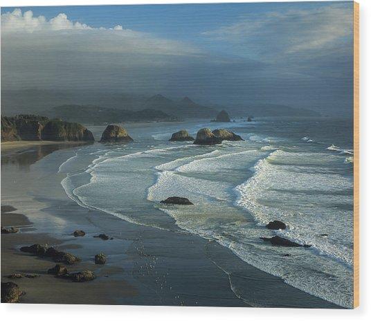 Crescent Beach And Surf Wood Print