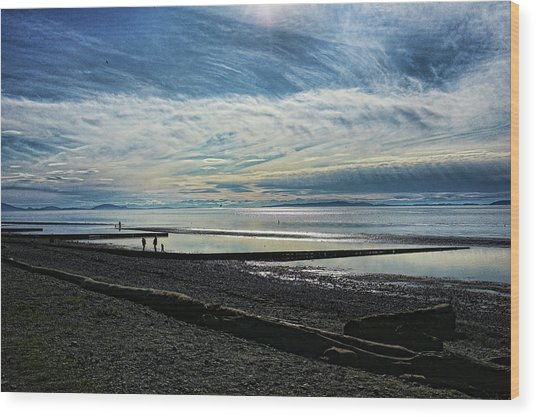 Crescent Beach At Dusk Wood Print
