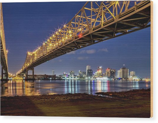 Crescent City Bridge, New Orleans Wood Print