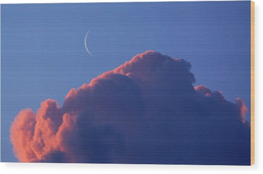 Crescent Moon In The Pink Wood Print