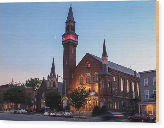 Crescent Moon Over Old Town Hall Wood Print