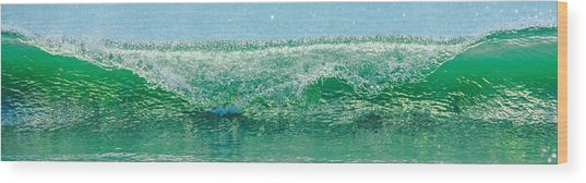 Cresting Wave Wood Print by Paula Porterfield-Izzo