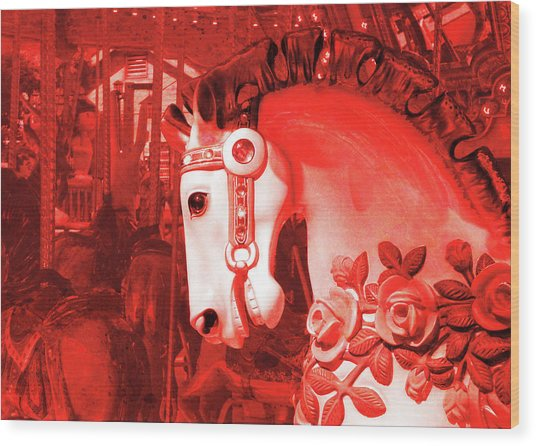 Crimson Carousel Wood Print by JAMART Photography