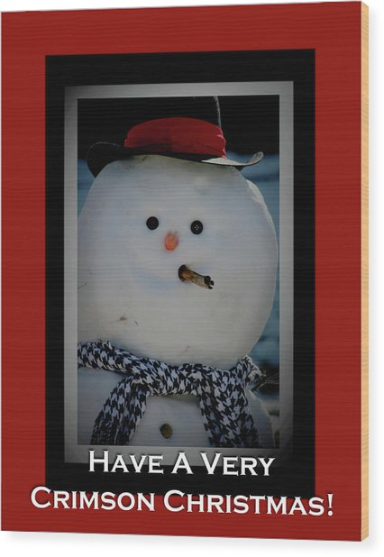 Crimson Christmas Snowman Wood Print