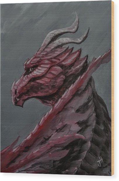 Wood Print featuring the painting Crimson Dragon by Jennifer Hotai