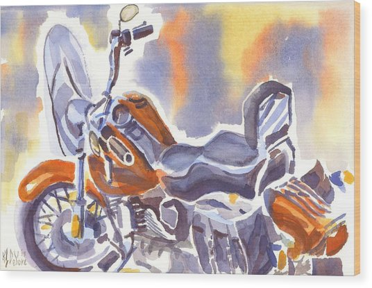Crimson Motorcycle In Watercolor Wood Print