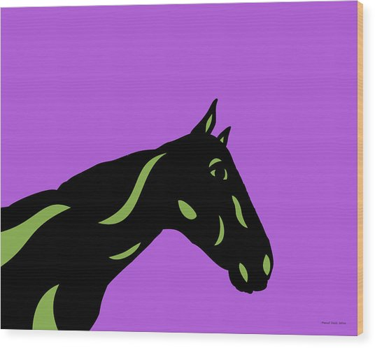 Crimson - Pop Art Horse - Black, Greenery, Purple Wood Print