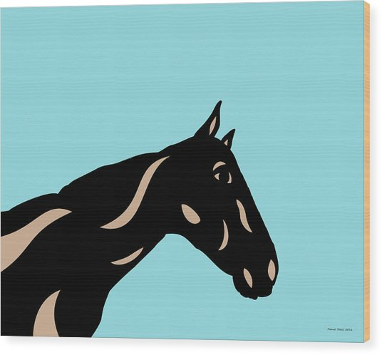 Crimson - Pop Art Horse - Black, Hazelnut, Island Paradise Blue Wood Print