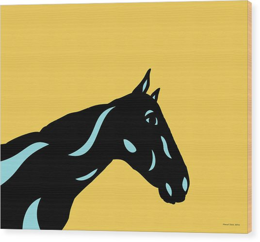Crimson - Pop Art Horse - Black, Island Paradise Blue, Primrose Yellow Wood Print