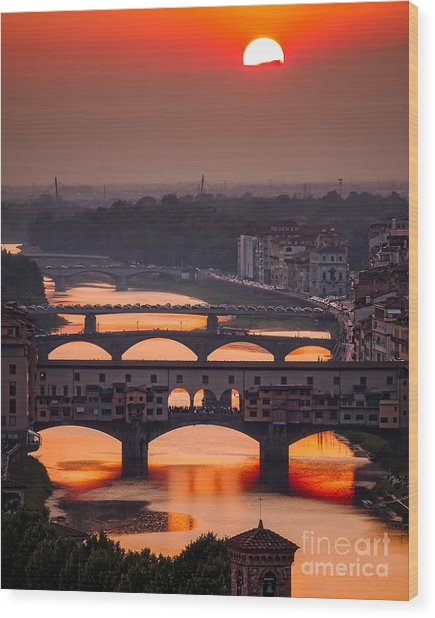 Crimson River Wood Print