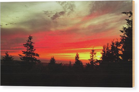 Wood Print featuring the photograph Crimson Sky by Pacific Northwest Imagery