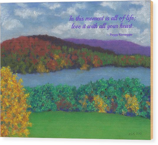 Crisp Kripalu Morning - With Quote Wood Print