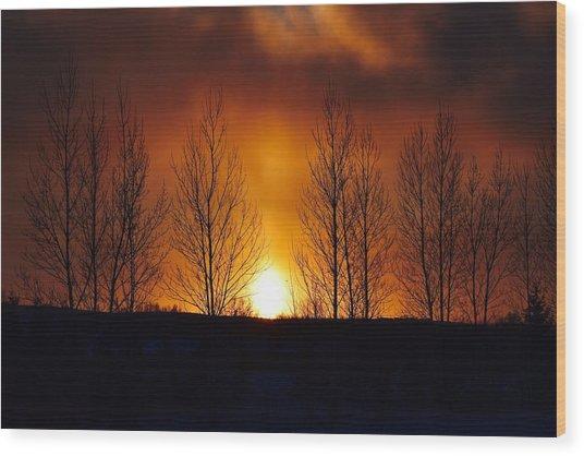 Crisp Sunset Wood Print