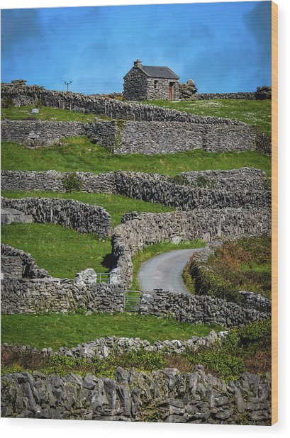 Wood Print featuring the photograph Criss-crossed Stone Walls Of Inisheer by James Truett