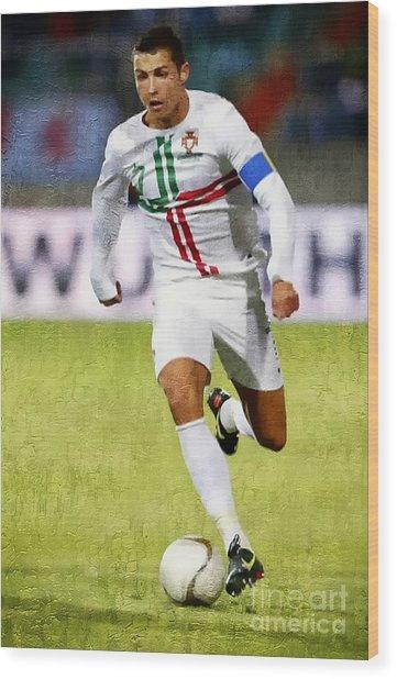 Cristiano Ronaldo - Soccer Legend Wood Print