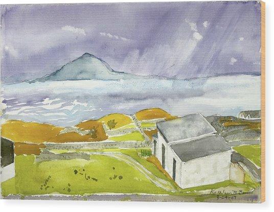Croagh Patrick And Purple Sky Wood Print