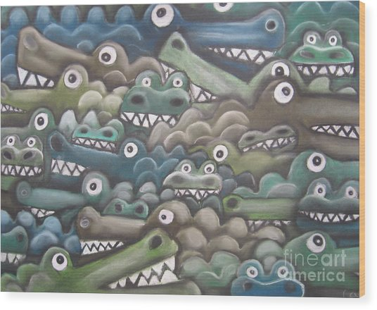 Crocodile Soup Wood Print