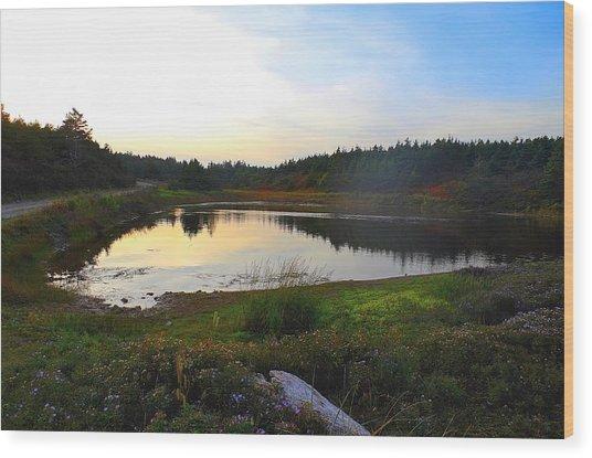 Crooked Lake Road Wood Print