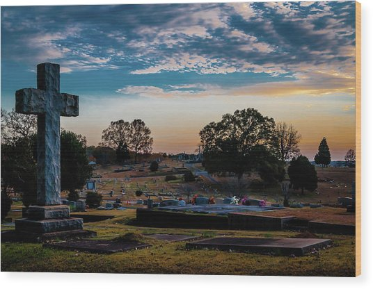 Cross At Sunset Wood Print