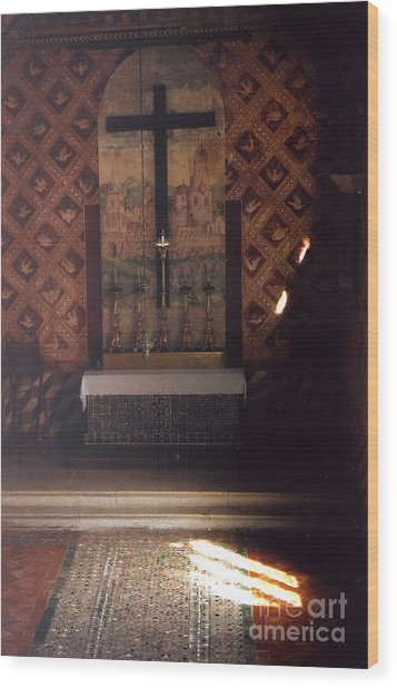 Cross Of Light Wood Print by Andrea Simon