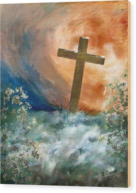 Cross Of Remembrance Wood Print
