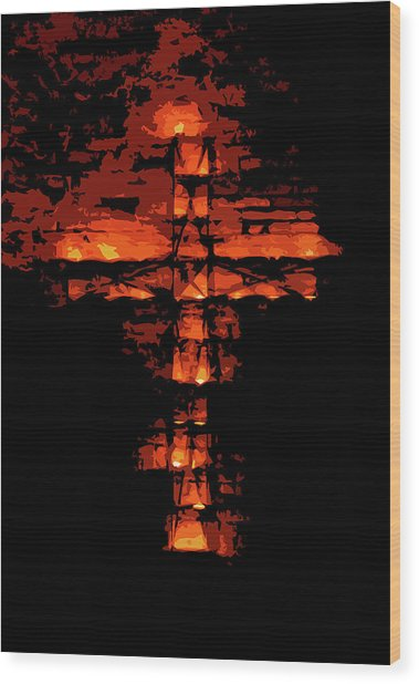 Cross On Fire Wood Print by Andrea Mazzocchetti