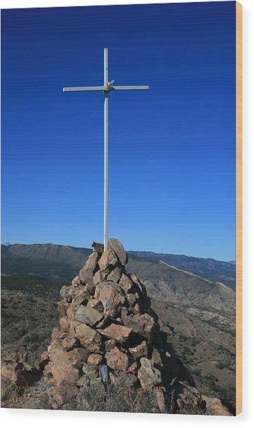 Cross On Fremont Peak Wood Print