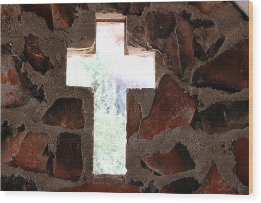 Cross Shaped Window In Chapel  Wood Print