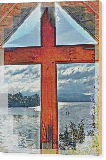 Cross Window Lake View  Wood Print