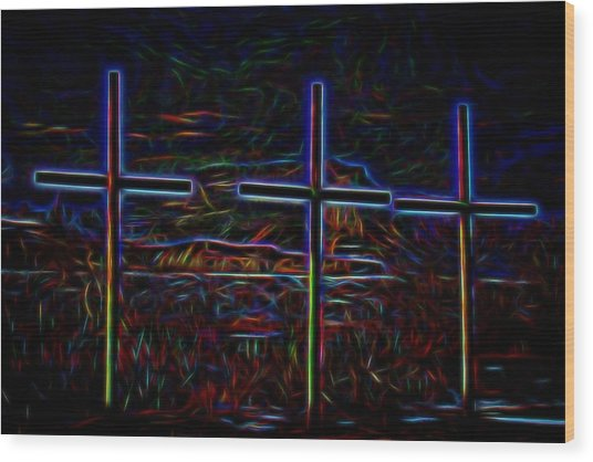 Crosses Under The Bluff Wood Print by Tim Abshire