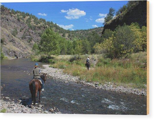 Crossing The Gila On Horseback Wood Print