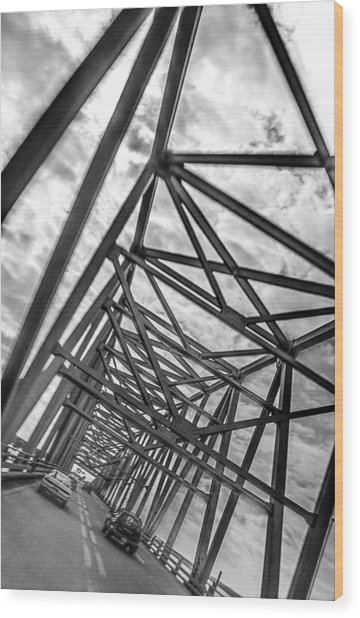 Crossing Through The Chesapeake Bay Bridge Wood Print