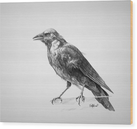 Crow Drawing Wood Print