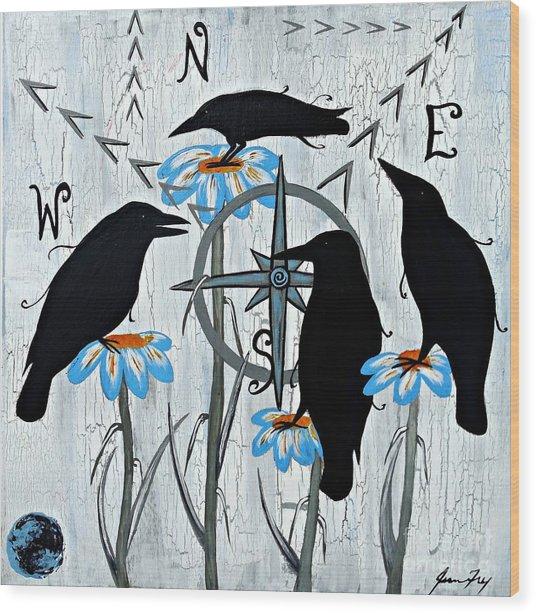 Crow Flowers Wood Print