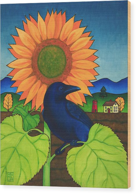 Crow In The Garden Wood Print