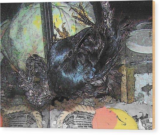 Crow Mid Flip Wood Print