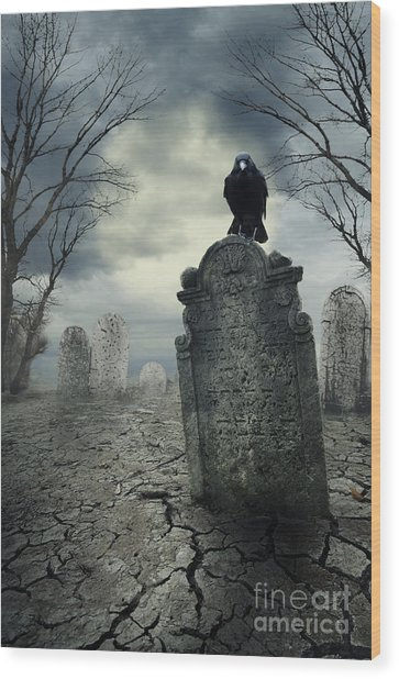 Crow On The Tombstone Wood Print