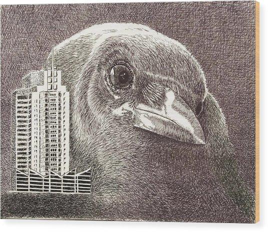 Crow Over Casino Windsor Wood Print