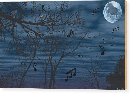 Crow Sings At Midnight Wood Print by Evelyn Patrick