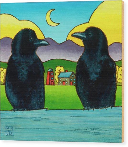 Crow Tales Wood Print